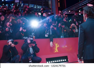 Photogra[hers poses at the 'Vice'  premiere during the 69th Berlinale International Film Festival Berlin at Berlinale Palace on February 11, 2019 in Berlin, Germany.