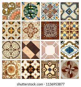 Photograph of 16 traditional portuguese tiles in different colours and patterns