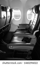 Photograph of aircraft seat on plane.