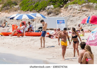 Photograph of a beach on Menorca, Spain, at the beginning of summer. 1 June 2016.