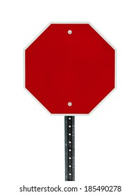 Photograph of a blank red traffic stop sign with all text letters removed. Surface grid pattern has be left intact.  Isolated on a white background.