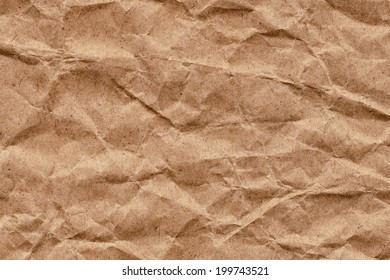 Photograph of brown kraft paper grocery bag, coarse grain, crushed, crumpled, grunge texture - detail