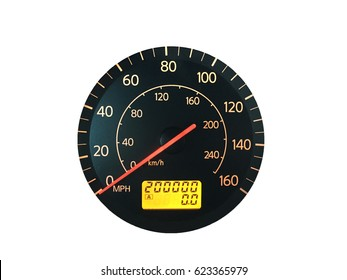 Photograph of a car speedometer with exactly 200,000 miles on the odometer.  Isolated on white.  Concepts could include age, reliability, transportation, other.