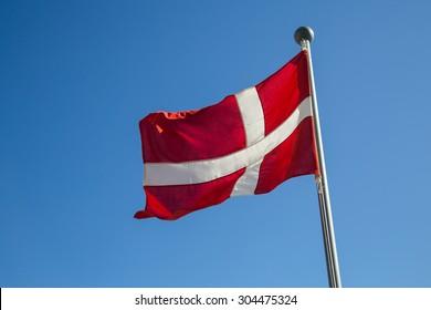 "Photograph of the Danish Flag called ""Dannebrog""."