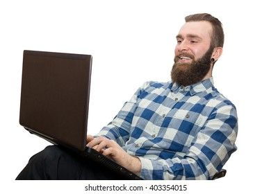 the photograph depicts a man with a laptop on a white background