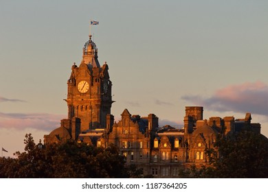 A photograph of the famous Balmoral evening in central Edinburgh, Scotland, UK