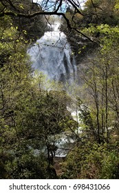 photograph of the famous waterfall of Neda in spring, with its maximum flow, A Coruña, Galicia, Spain,