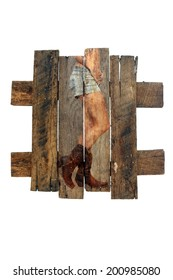 A photograph of a female lower torso wearing denim shorts and cowboy boots, overlaid on real aged and weathered wood.  Generous copyspace.