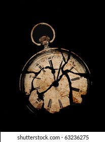 photograph of a fob watch, layered with textures of broken slate and stained paper - concept of mortality or time's up