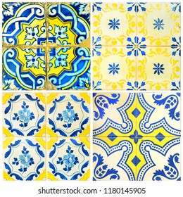 Photograph of four traditional portuguese tiles in blue and yellow