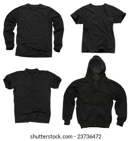 Photograph of four wrinkled blank black shirts, long sleeve shirt, golf shirt, V-neck and hoodie. Ready for your design or logo.