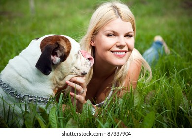Photograph of a girl with a dog