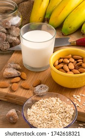 Photograph with glass of milk, nuts and bananas from the Canary Islands