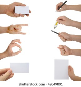 A photograph of hands with different  objects.