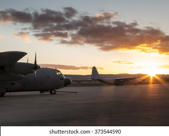 Photograph of a Hercules aircraft on land