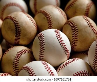 a photograph of many baseballs