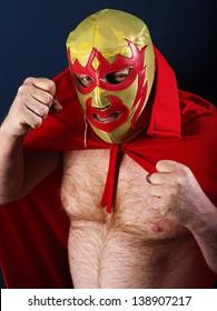 Photograph of a Mexican wrestler or Luchador posing.