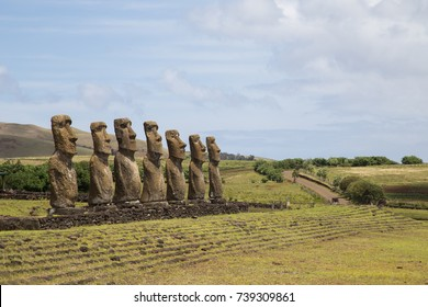 Photograph of the moais at Ahu Akivi on Easter Island in Chile.