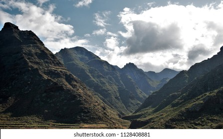 Photograph of the mountains of Taganana, Mountain range, Tenerife, deep valley, canary islands, spain,