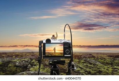 Photograph a natural landscape in sunrise, with blurred defocus backgrounds
