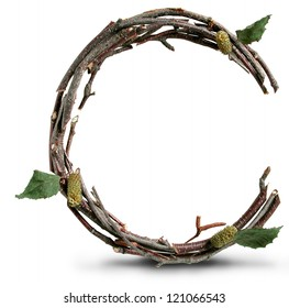 Photograph of Natural Twig and Stick Letter C