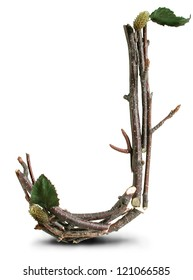Photograph of Natural Twig and Stick Letter J