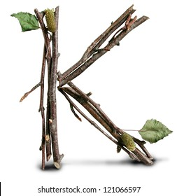 Photograph of Natural Twig and Stick Letter K