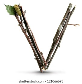 Photograph of Natural Twig and Stick Letter V
