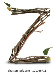 Photograph of Natural Twig and Stick Letter Z