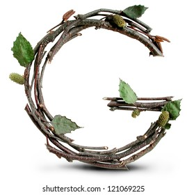 Photograph of Natural Twig and Stick Letter G