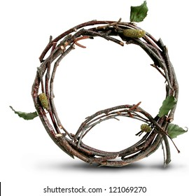 Photograph of Natural Twig and Stick Letter Q