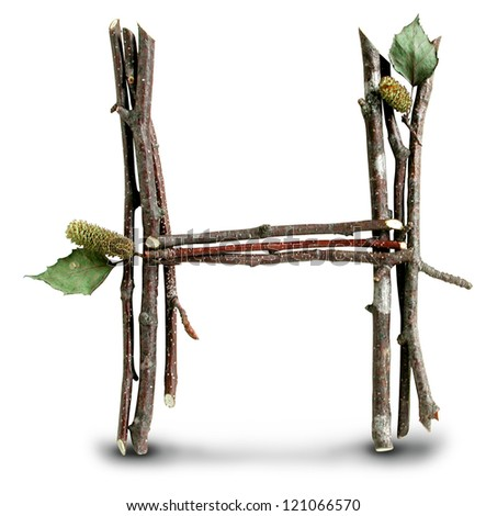 Photograph of Natural Twig and Stick Letter H