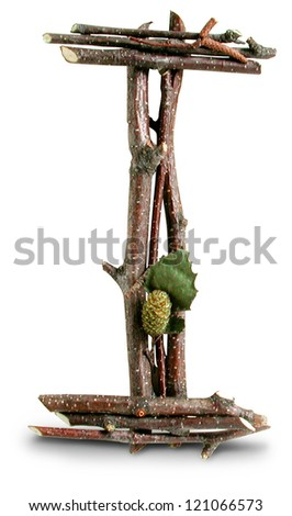 Photograph of Natural Twig and Stick Letter I