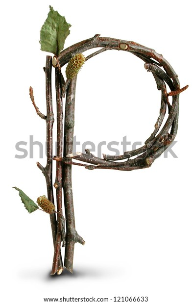 Photograph of Natural Twig and Stick Letter P