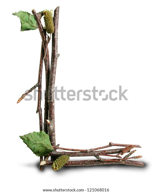 Photograph of Natural Twig and Stick Letter L