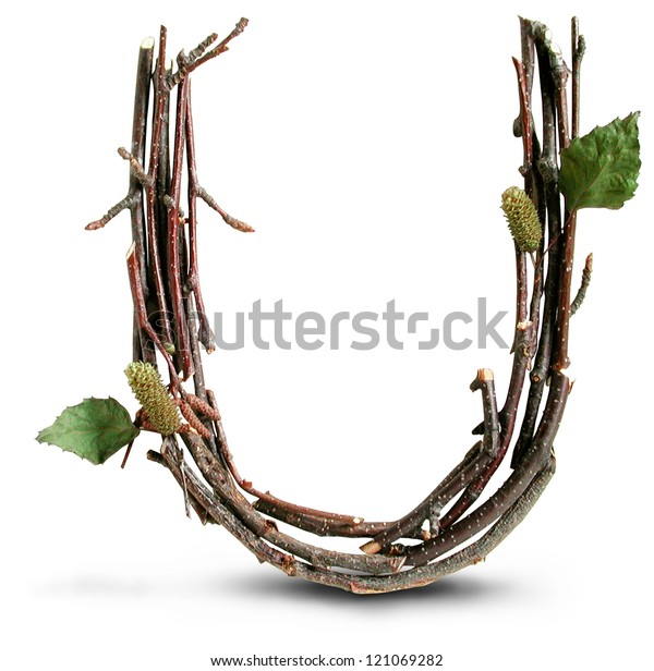 Photograph of Natural Twig and Stick Letter U