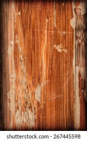 Photograph of obsolete old, weathered, varnished Wooden Laminated Panel, cracked, scratched, vignette grunge texture.