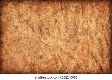 Photograph Of Old Recycle Kraft Brown Paper Coarse Grain Crushed Crumpled Mottled