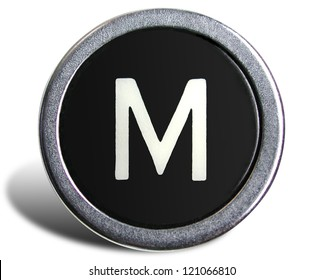 Photograph of Old Typewriter Key Letter M