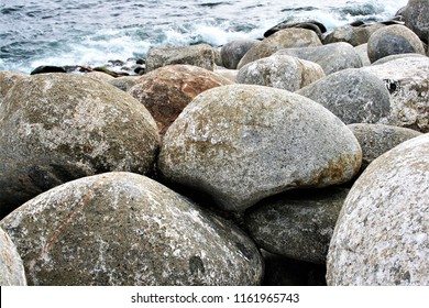 photograph of the Phoenician breakwater of the port of Bares, A Coruña, Galicia,
