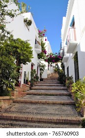 Photograph of popular architecture of Salobreña, white village of Granada, in the Mediterranean, Andalusia, Spain,