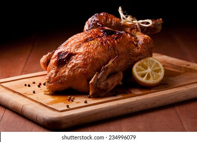 Photograph of a savory roasted chicken