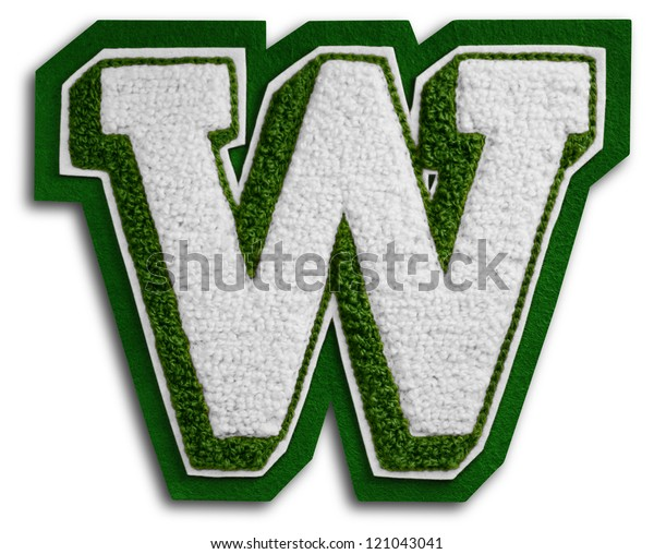 Photograph of School Sports Letter - Green and White W