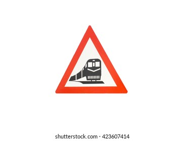 A photograph of a semi weathered train warning sign on a white background