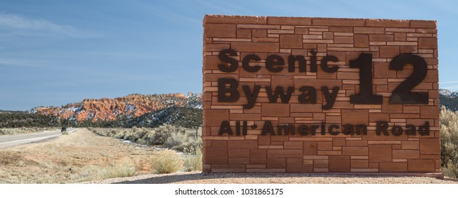 Photograph of signage for Scenic Byway Route 12 in the Utah desert.