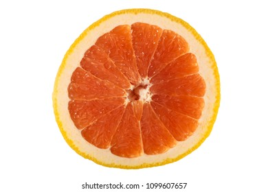 A photograph of a slice of grarefruit isolated on a white background.