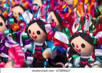 Photograph of some mexican traditional dolls