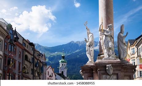 Photograph of the St. Anne's Column on Maria-Theresien-Strasse street; Innsbruck, Austria.
