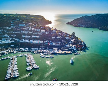 A photograph taken from the air looking at the mouth of the river Dart from Dartmouth.