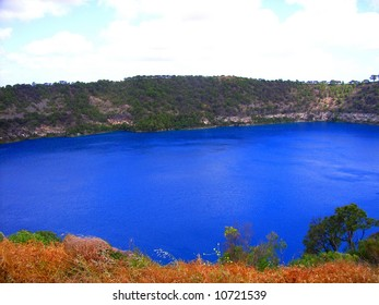 """Photograph taken of the """"Blue Lake"""" at Mt Gambier (in red), Australia."""